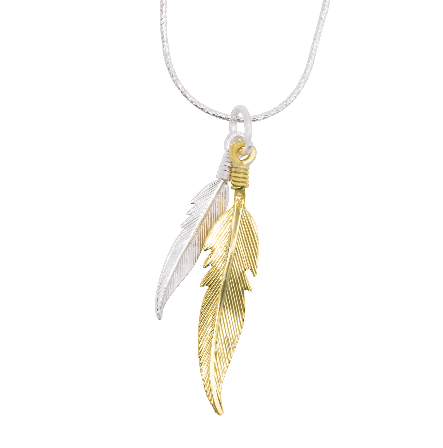 925c precious gold silver feather